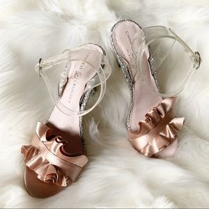 #peachblush #satin #srappyheels #silversparkle